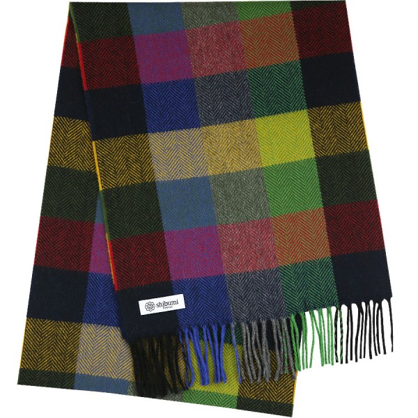 Plaid Cashmere Scarf - Navy / Red / Yellow