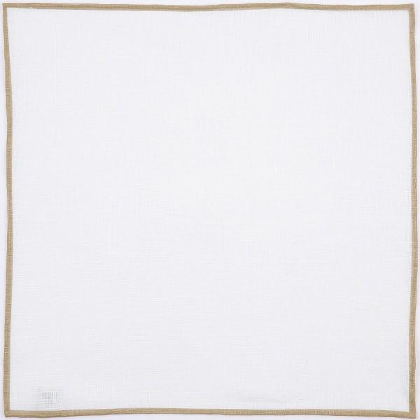 Irish Linen Shoestring Pocket Square - White / Beige