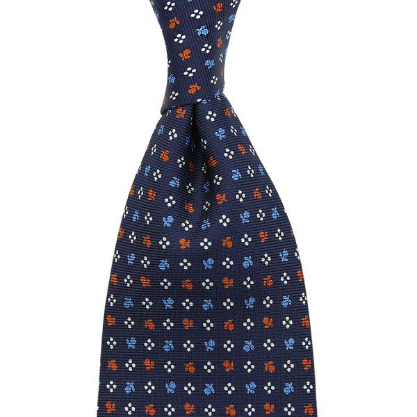 Floral Printed Silk Tie - Navy VIII - Handrolled