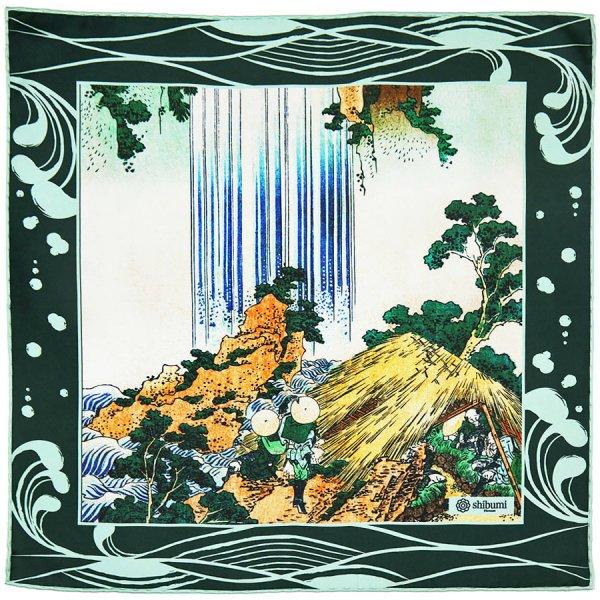 Ukiyo-e Silk Pocket Square - Shiradaki - 40x40cm