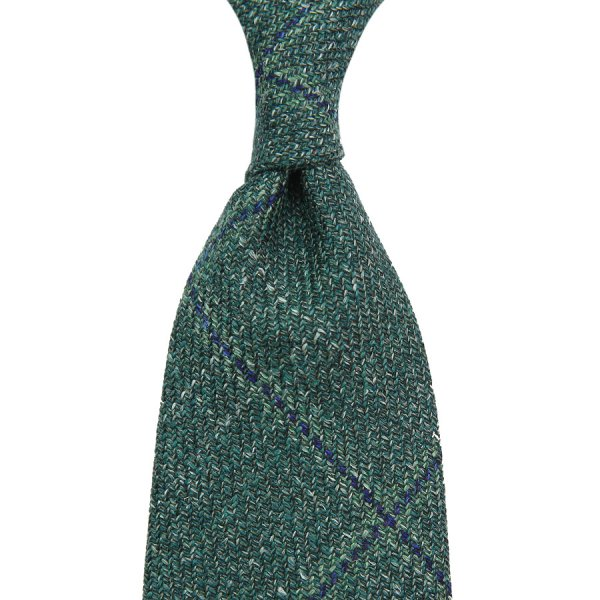 Loro Piana Checked Wool / Silk / Linen Tie - Green II - Handrolled