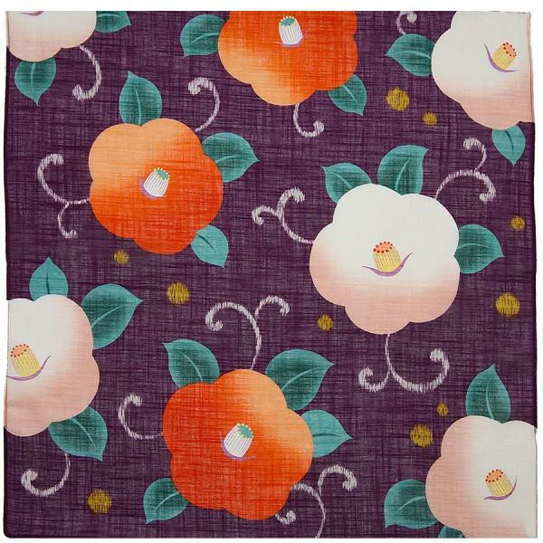 Kimono Motif Cotton Handkerchief - Purple