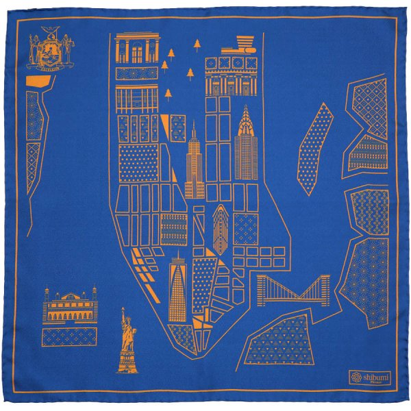 New York Map Silk Pocket Square - Royal - 40x40cm