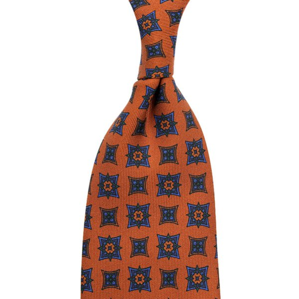 Ancient Madder Silk Tie - Terracotta IV - Hand-Rolled