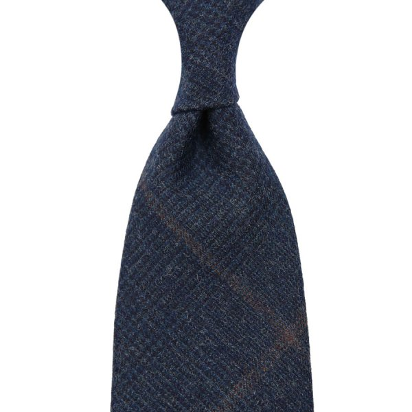 Vintage Fox Brothers Checked Wool Tie - Navy - Hand-Rolled