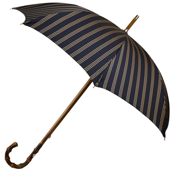 Navy Striped Umbrella - Bamboo