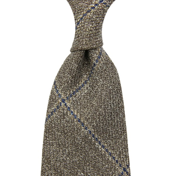 Loro Piana Checked Wool / Linen / Silk Tie - Beige - Hand-Rolled