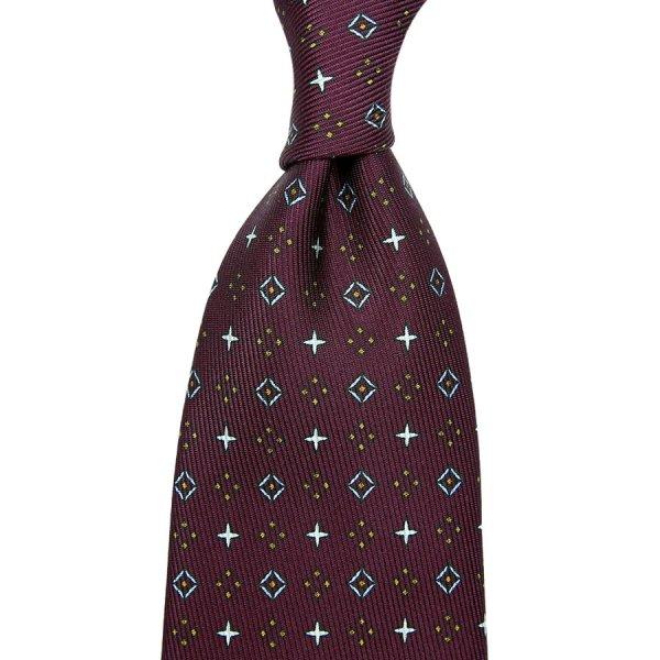 50oz Floral Printed Silk Tie - Burgundy - Hand-Rolled