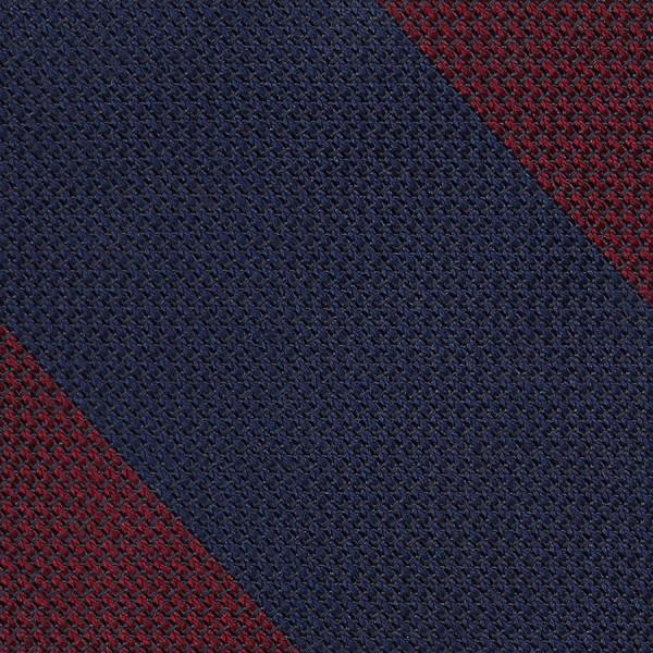 Block Stripe Grenadine / Garza Fina Bespoke Tie - Navy / Burgundy