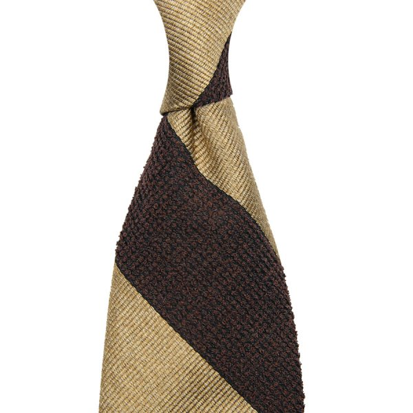 Block Stripe Repp / Boucle Silk Tie - Brown / Beige