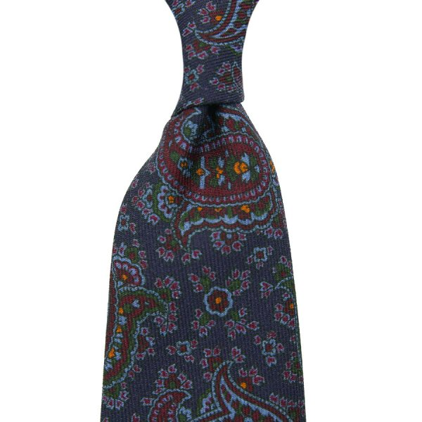 Paisley Printed Wool Challis Tie - Navy - Self-Tipped