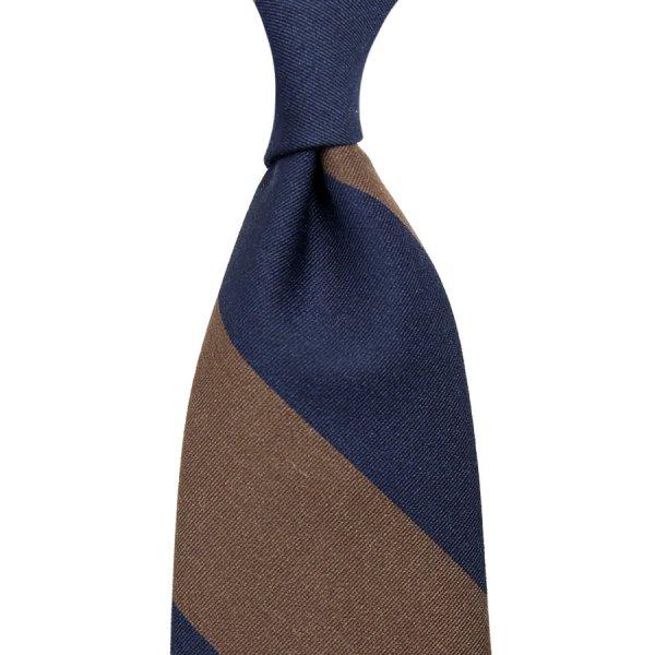 Mogador Block Stripe Cotton / Silk Tie - Navy / Brown - Hand-Rolled