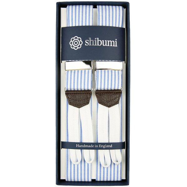 Seersucker Cotton Braces - Blue / White