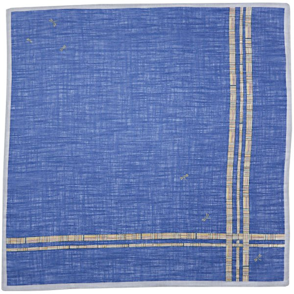Japanese Motif Cotton Handkerchief - Blue