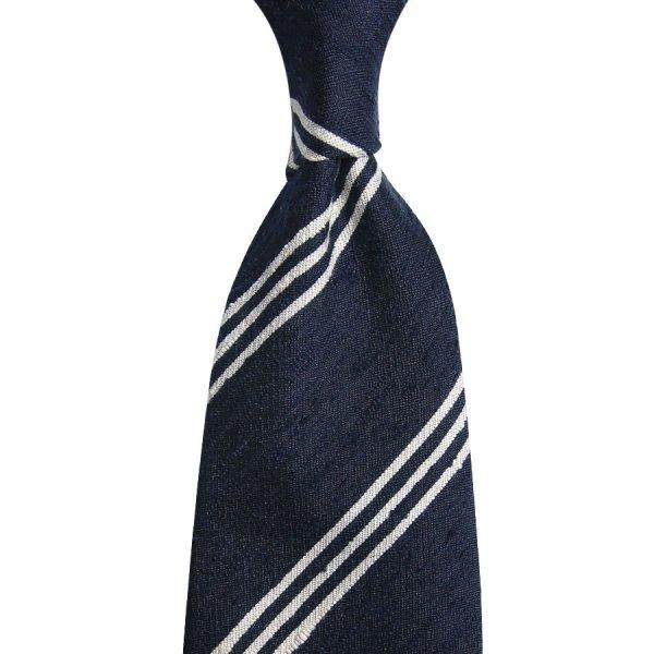 Triple Bar Shantung Silk Tie - Navy - Hand-Rolled