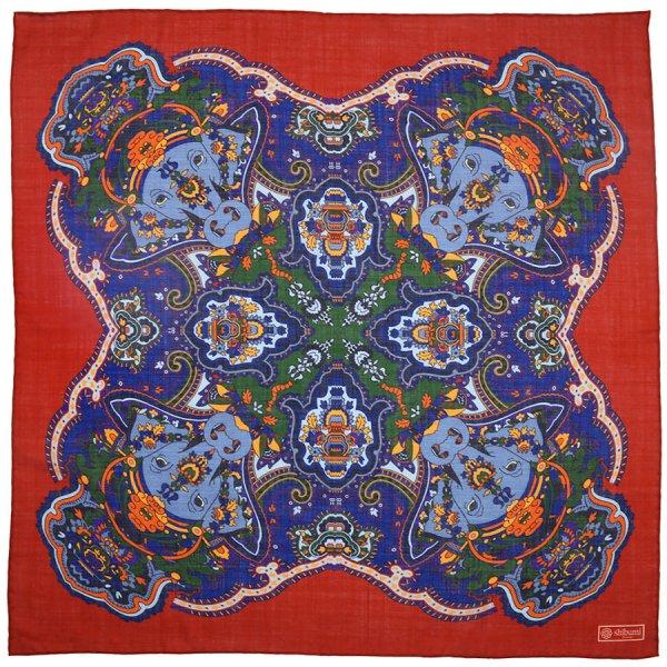 Printed Wool / Silk Neckerchief - Rust - 60x60cm