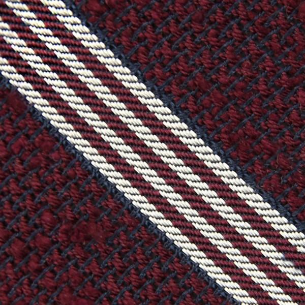 Striped Shantung Grenadine Bespoke Tie - Burgundy