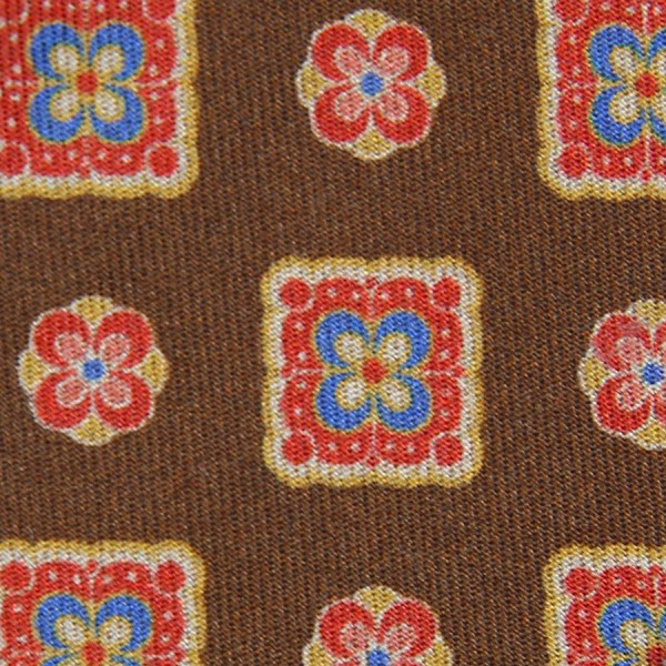 Vintage Printed Silk Bespoke Tie - Brown III