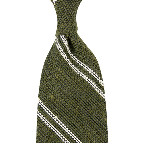 Double Bar Grenadine Shantung Tie - Olive - Hand-Rolled
