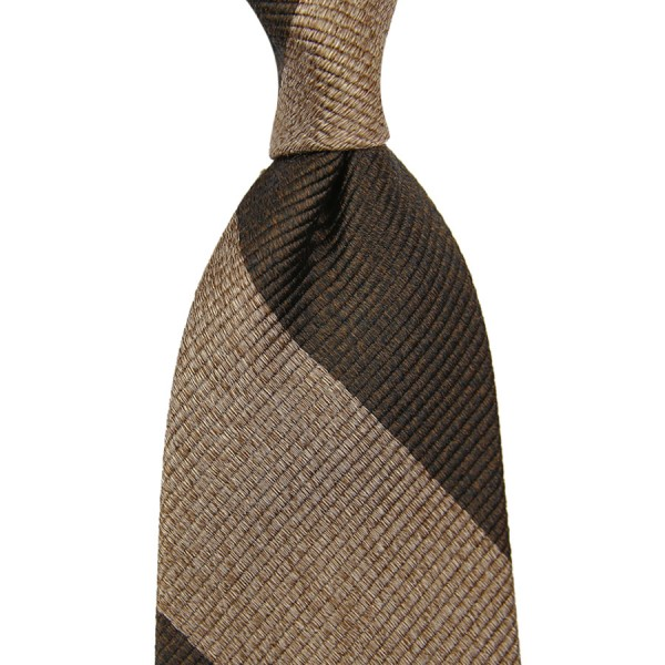 Block Stripe Silk Tie - Brown / Beige Mottled - Handrolled
