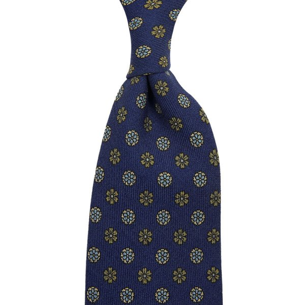 Floral Printed Wool Challis Tie - Navy I - Hand-Rolled