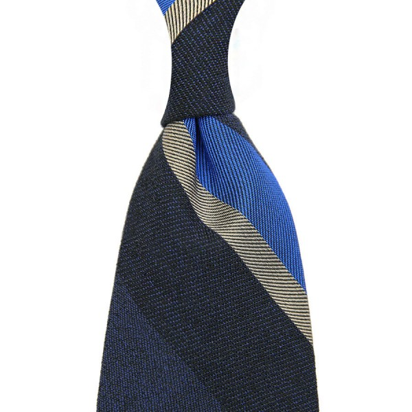Striped Silk / Cotton Boucle Tie - Navy - Handrolled