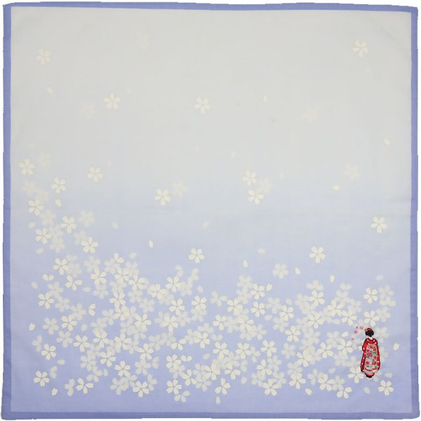 Floral Motif Cotton Handkerchief - Lilac