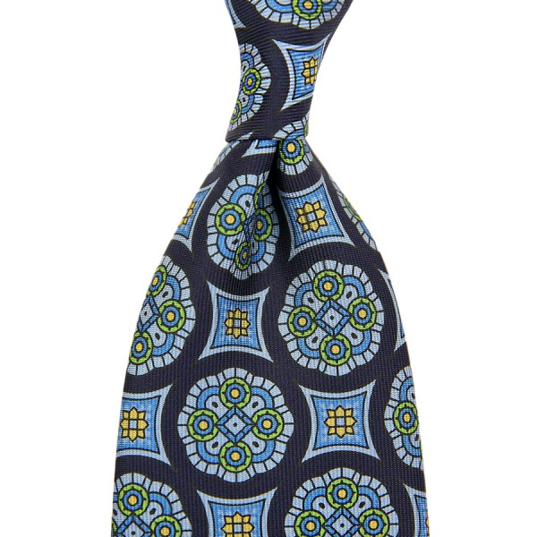Medallion Printed Silk Tie - Navy - Handrolled