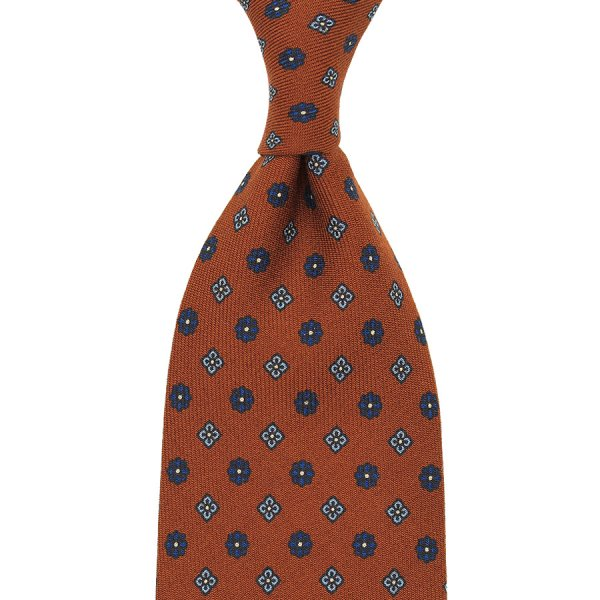 Floral Printed Wool Tie - Copper - Handrolled