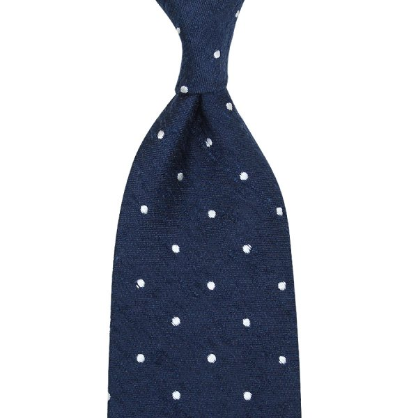 7-Fold Dotted Shantung Silk Tie - Navy - Hand-Rolled