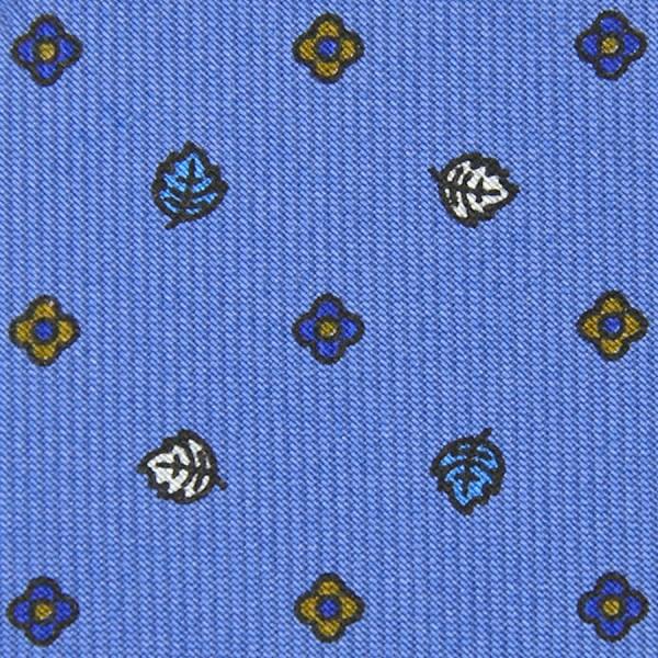 Floral Printed Bespoke Silk Tie - Sky Blue