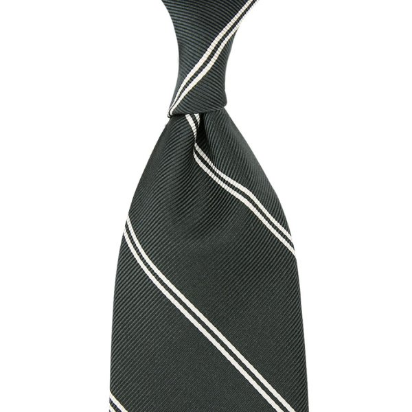 Double Bar Repp Stripe Silk Tie - Grey - Hand-Rolled