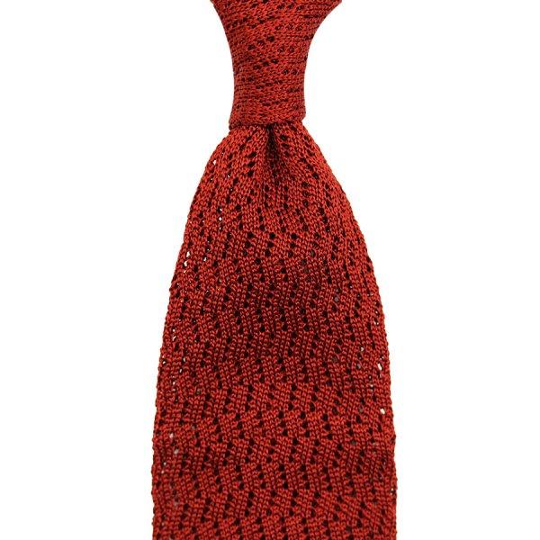 Zig Zag Silk Knit Tie - Rust