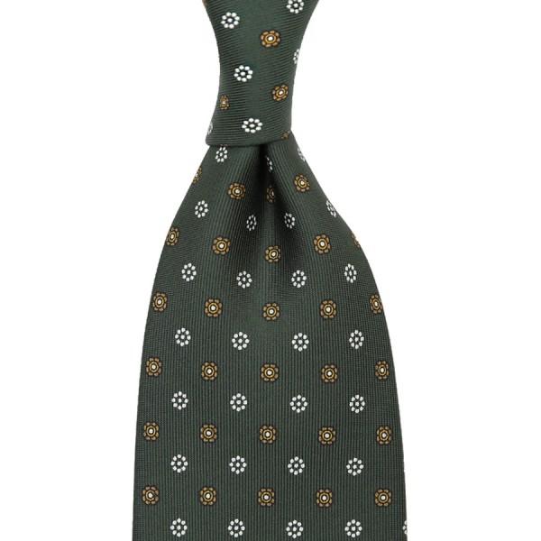 Floral Printed Silk Tie - Olive - Handrolled - 160cm