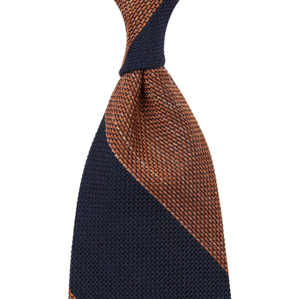 Block Stripe Grenadine / Garza Fina Linen / Silk Tie - Navy / Orange