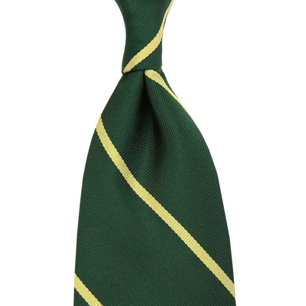 Repp Stripe Silk Tie - Forest Green - Handrolled - 160cm