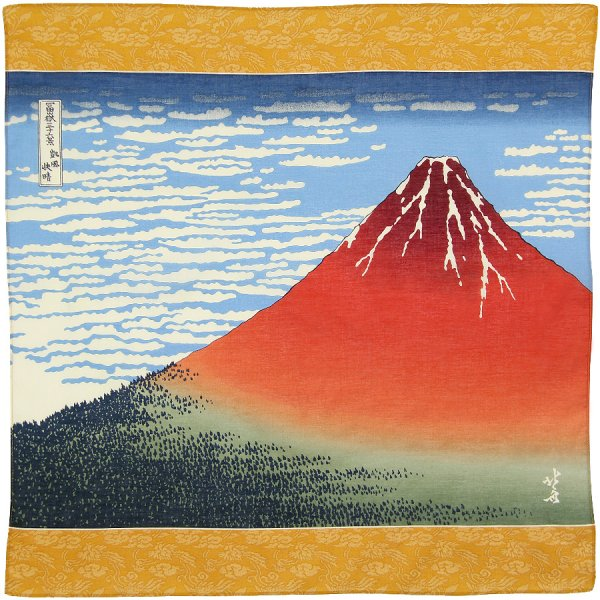 Ukiyo-e Cotton Handkerchief - Gold II