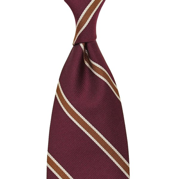 Repp Stripe Silk Tie - Burgundy / Brown - Handrolled