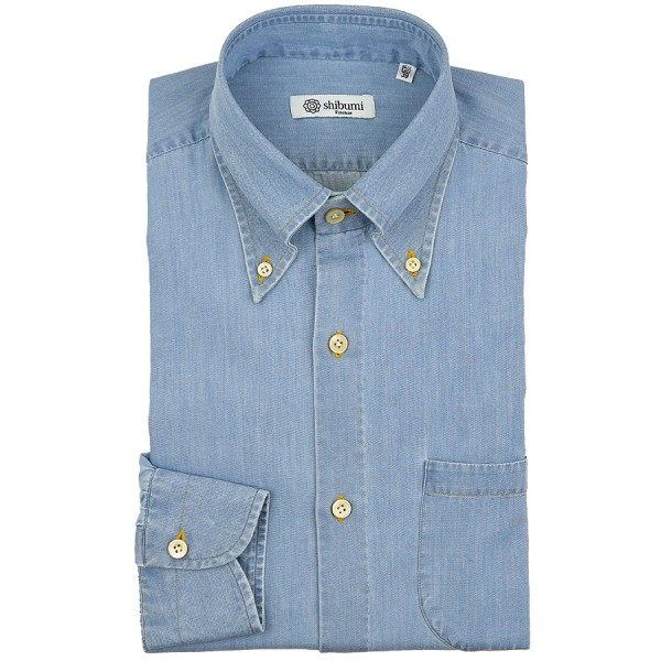 Denim Button Down Shirt - Light Blue