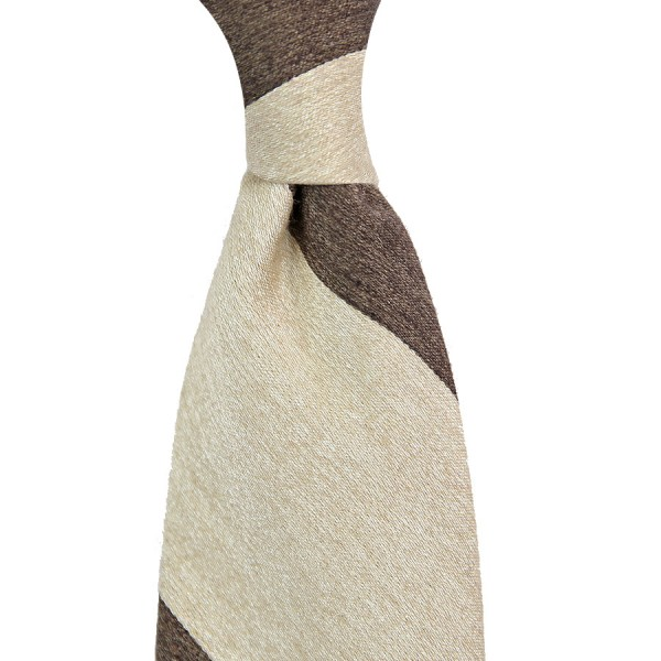Block Stripe Silk / Wool Tie - Brown / Beige - Handrolled