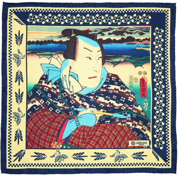 Ukiyo-e Silk Pocket Square - Ippuku - 40x40cm