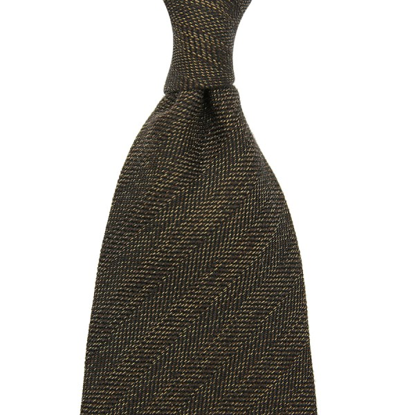 Herringbone Silk / Cotton Tie - Chocolate - Handrolled