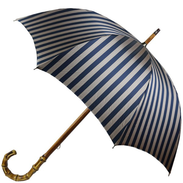 Shibumi Sen Umbrella - Navy / Beige Striped Herringbone - Bamboo