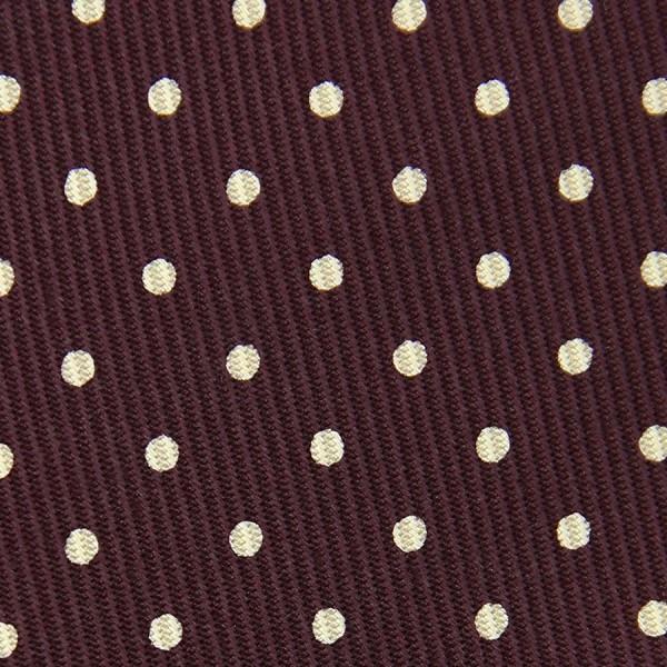 50oz Dotted Printed Bespoke Silk Tie - Burgundy