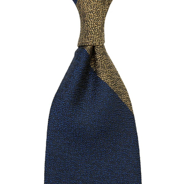 Block Stripe Boucle Silk Tie - Navy / Beige - Hand-Rolled