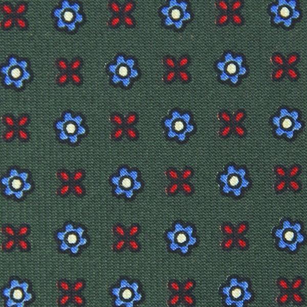 Floral Printed Bespoke Silk Tie - Olive II