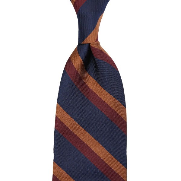 Repp Stripe Silk Tie - Navy / Burgundy / Copper - Handrolled