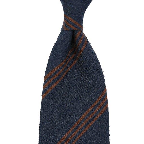 Triple Bar Shantung Silk Tie - Navy - Handrolled