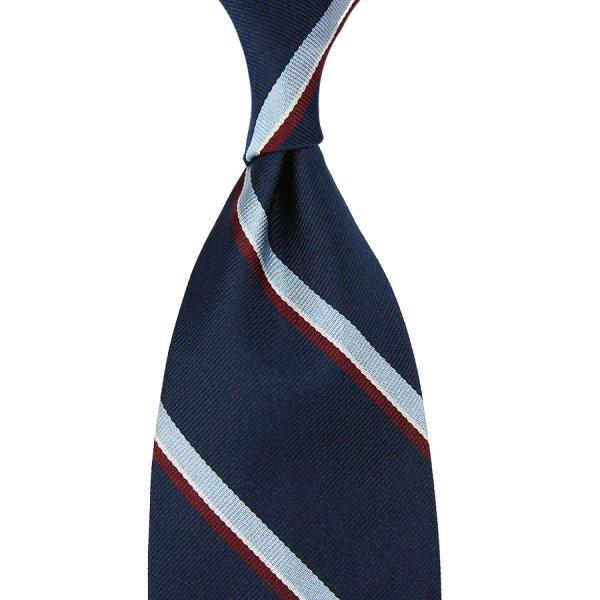Repp Stripe Silk Tie - Navy - Hand-Rolled