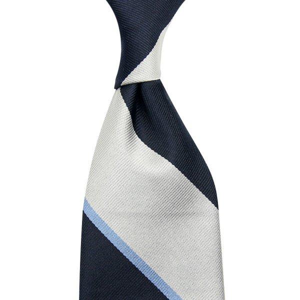 Block Stripe Repp Silk Tie - Navy / Silver / Sky